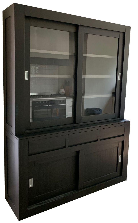 Spiksplinternieuw Kasten van de Koning - Buffetkast zwart - grijs design 180cm soft KR-39